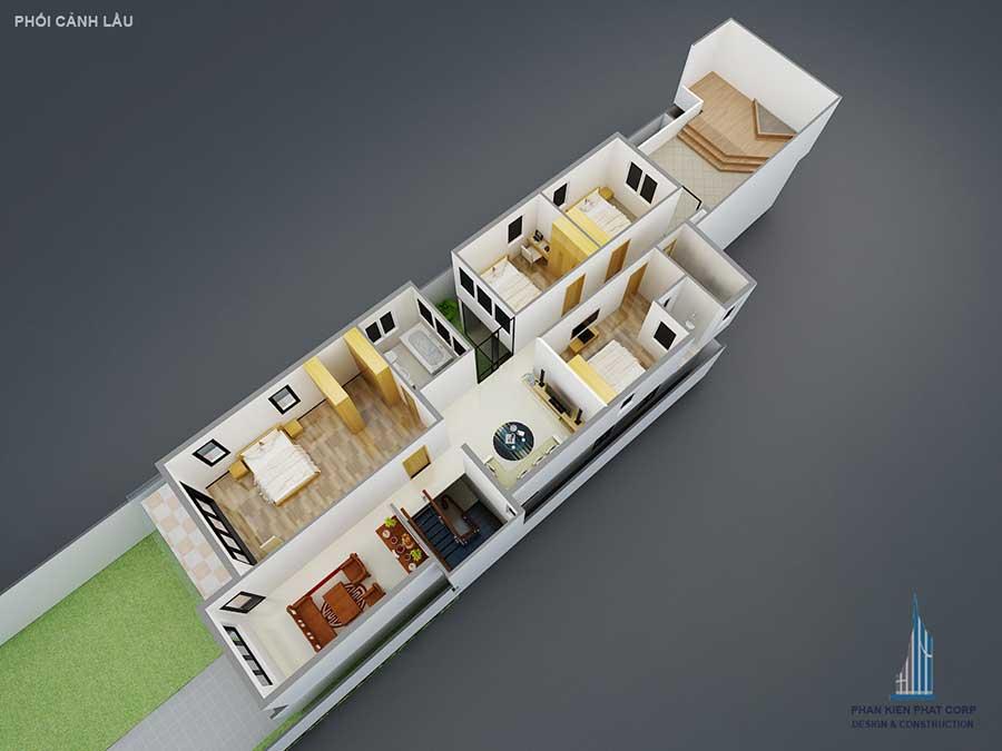 Thiết kế biệt thự 2 tầng - Mặt bằng lầu 1 góc 2