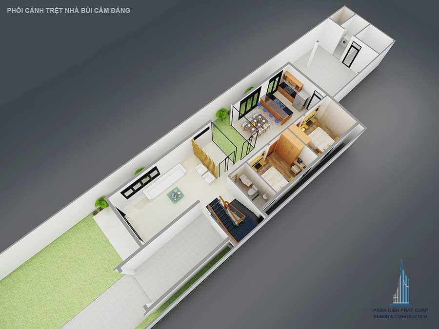 Biệt thự hiện đại 2 tầng - Mặt bằng trệt góc 2