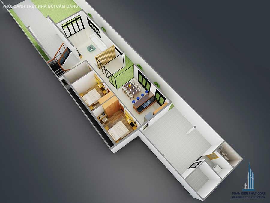 Thiết kế biệt thự 2 tầng - Mặt bằng trệt góc 3