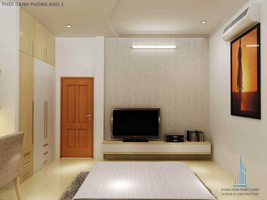 Thiết kế biệt thự hiện đại - Phòng ngủ 2 góc 2