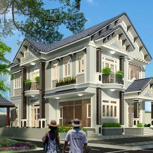 Thiết kế biệt thự 2 tầng mái Thái theo phong cách bán cổ điển