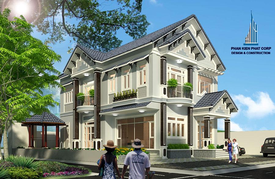 biet-thu-hien-dai, biet-thu-ban-co-dien - Biệt thự bán cổ điển 2 tầng mái Thái