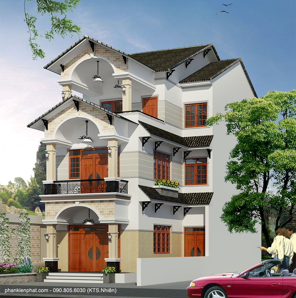 - Three floor mini L shape villa