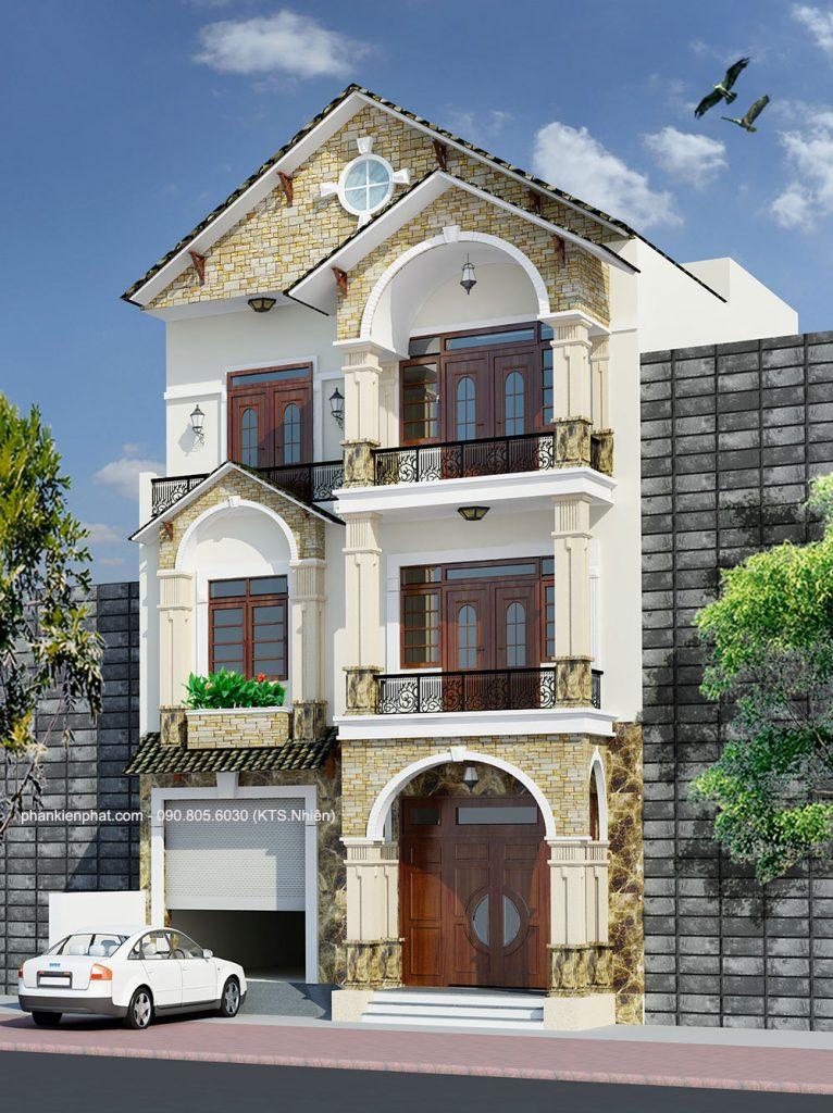 biet-thu-pho, biet-thu-hien-dai, biet-thu-co-dien - Biệt thự phố kiểu bán cổ điển 3 tầng