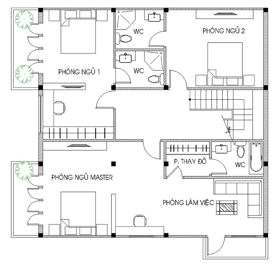 Thiết kế biệt thự hiện đại - Mặt bằng lầu 1