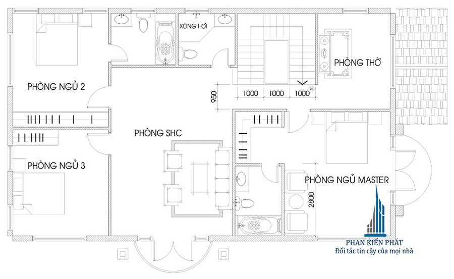 Biệt thự bán cổ điển - Mặt bằng lầu 1