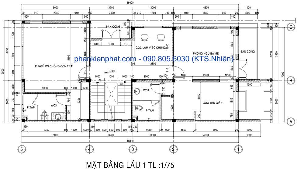 Mặt bằng lầu 1 nhà phố 4 tầng 16x7m