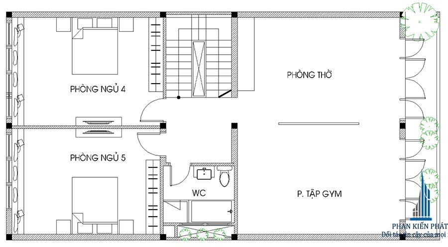 Thiết kế biệt thự - mặt bằng lầu 2
