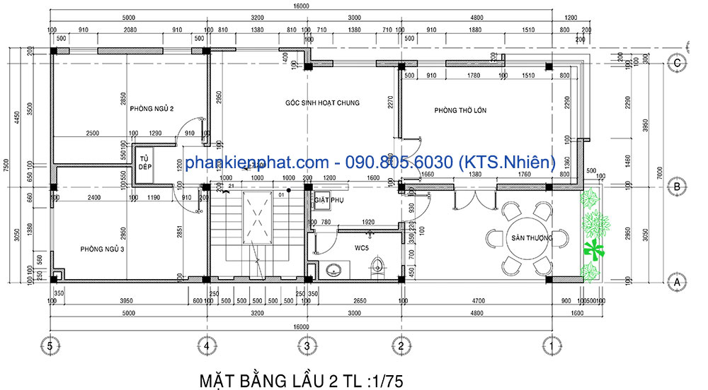 Mặt bằng lầu 2 nhà 16x7m 4 tầng