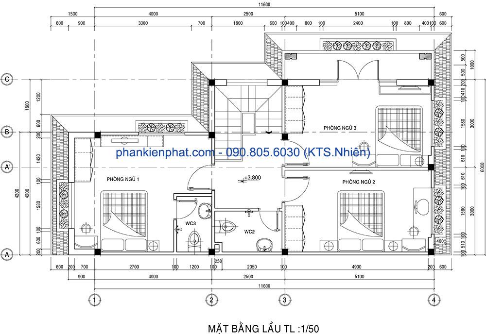 Mặt bằng tầng lầu 1 biệt thự mái Thái 2 tầng