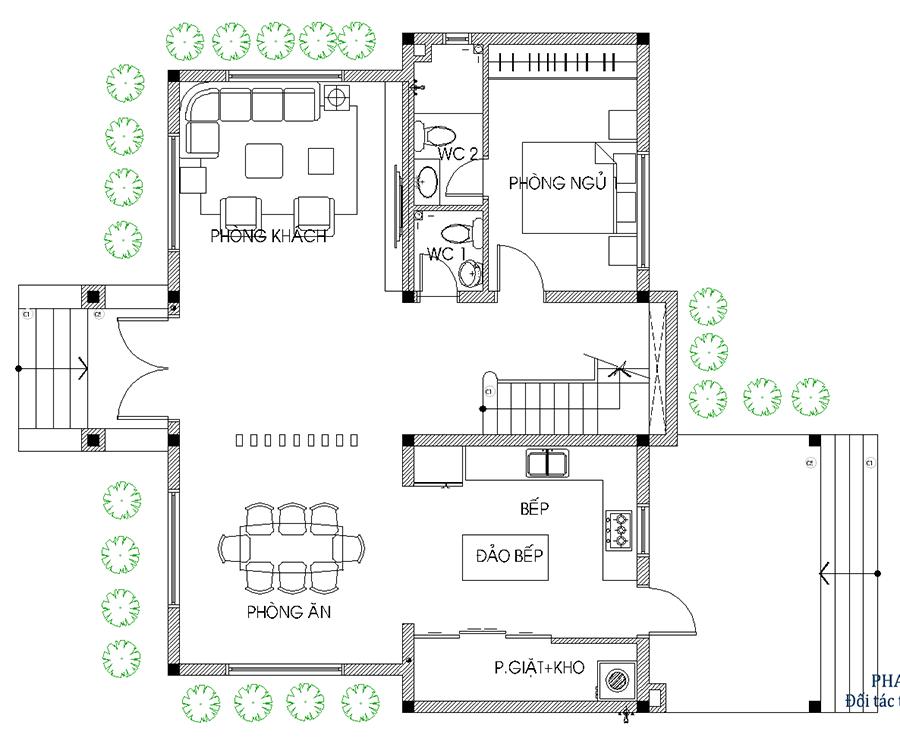 Thiết kế biệt thự mái nghiêng - Mặt bằng trệt