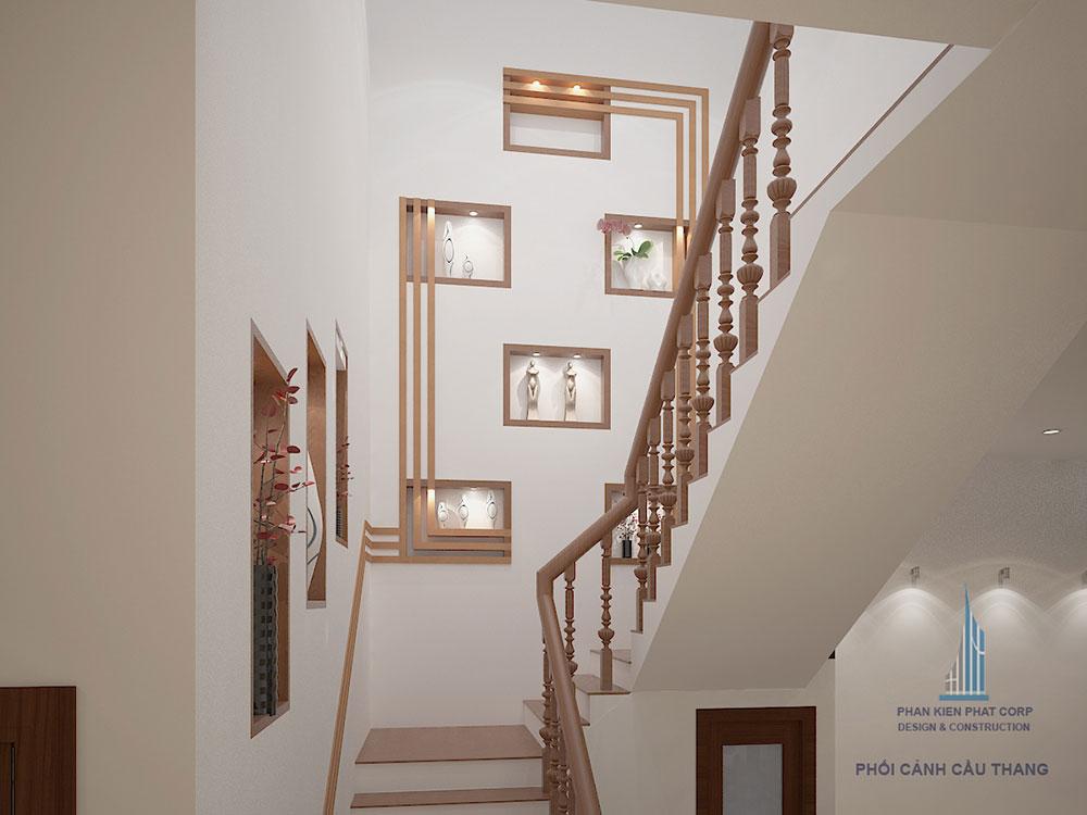 Phối cảnh cầu thang biệt thự 3 tầng bán cổ điển góc nhìn 3