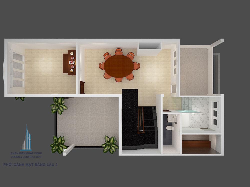 Phối cảnh mặt bằng tầng 3 biệt thự 3 tầng bán cổ điển góc nhìn 1