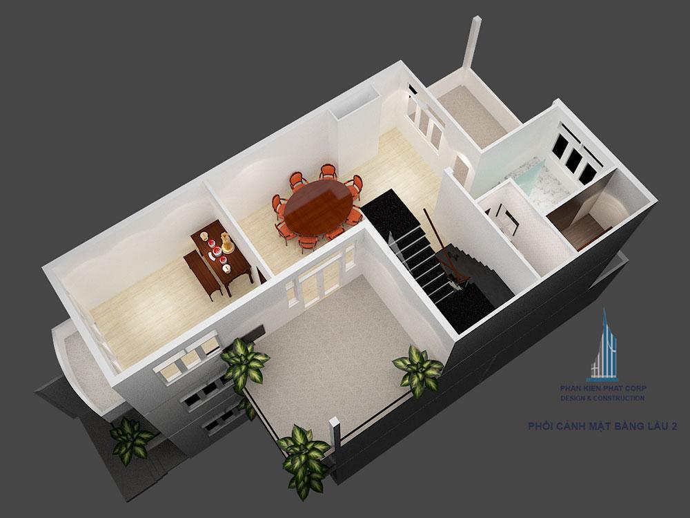 Phối cảnh mặt bằng tầng 3 biệt thự 3 tầng bán cổ điển góc nhìn 2