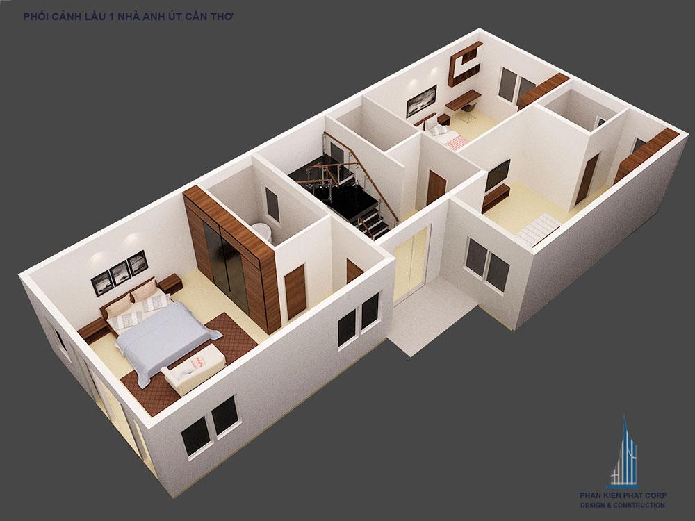 Phối cảnh mặt bằng tầng 3 biệt thự hiện đại góc nhìn 1