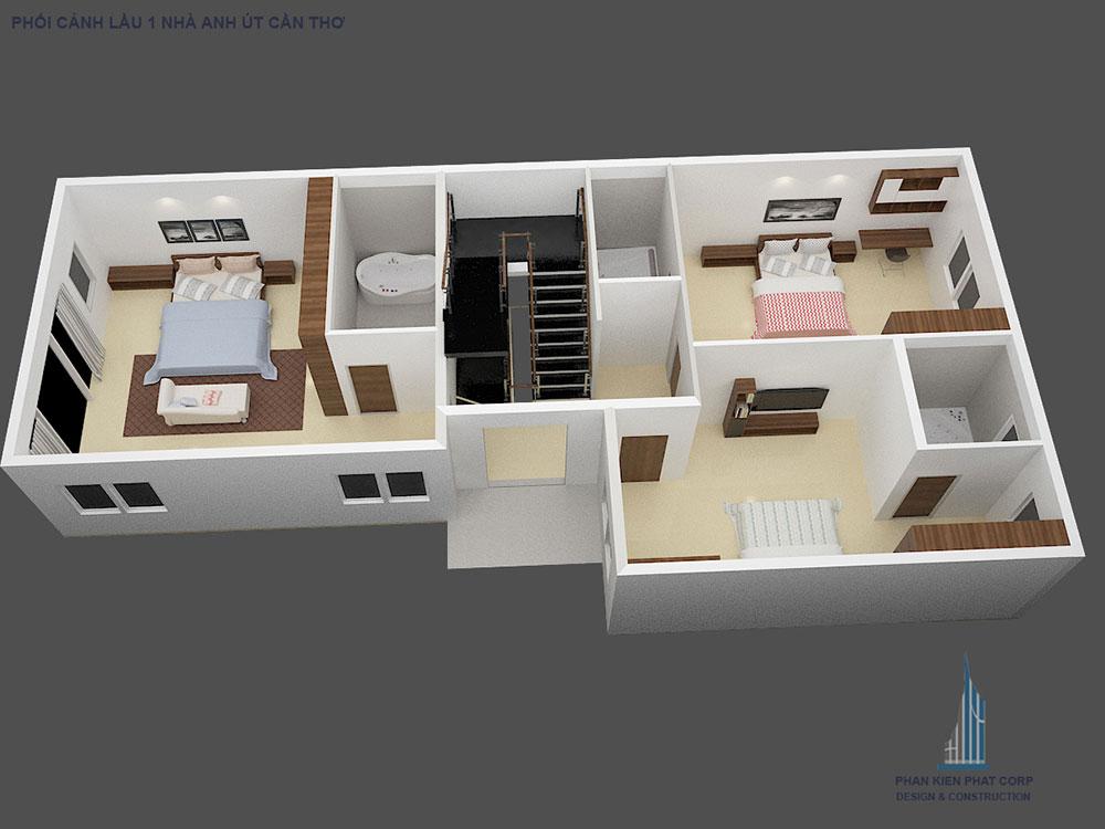 Phối cảnh mặt bằng tầng 3 biệt thự hiện đại góc nhìn 2