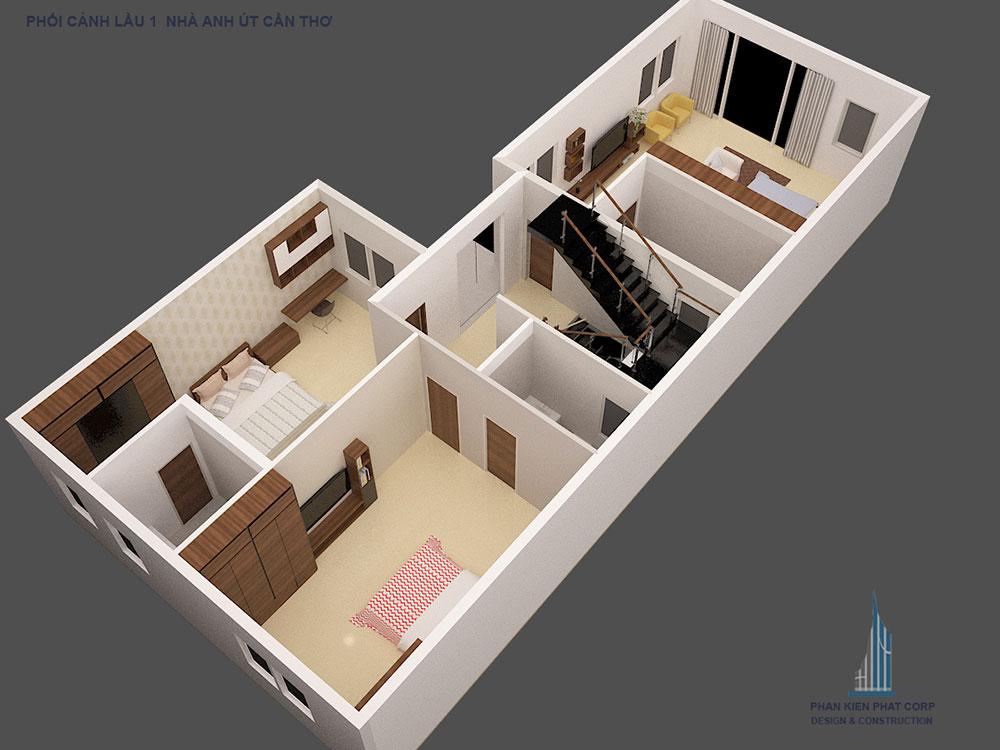 Phối cảnh mặt bằng tầng 3 biệt thự hiện đại góc nhìn 3