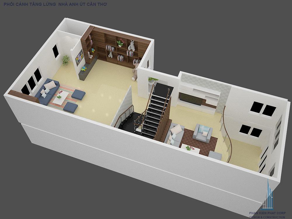 Phối cảnh mặt bằng tầng lửng biệt thự hiện đại góc nhìn 1