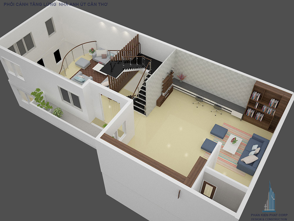 Phối cảnh mặt bằng tầng lửng biệt thự hiện đại góc nhìn 2
