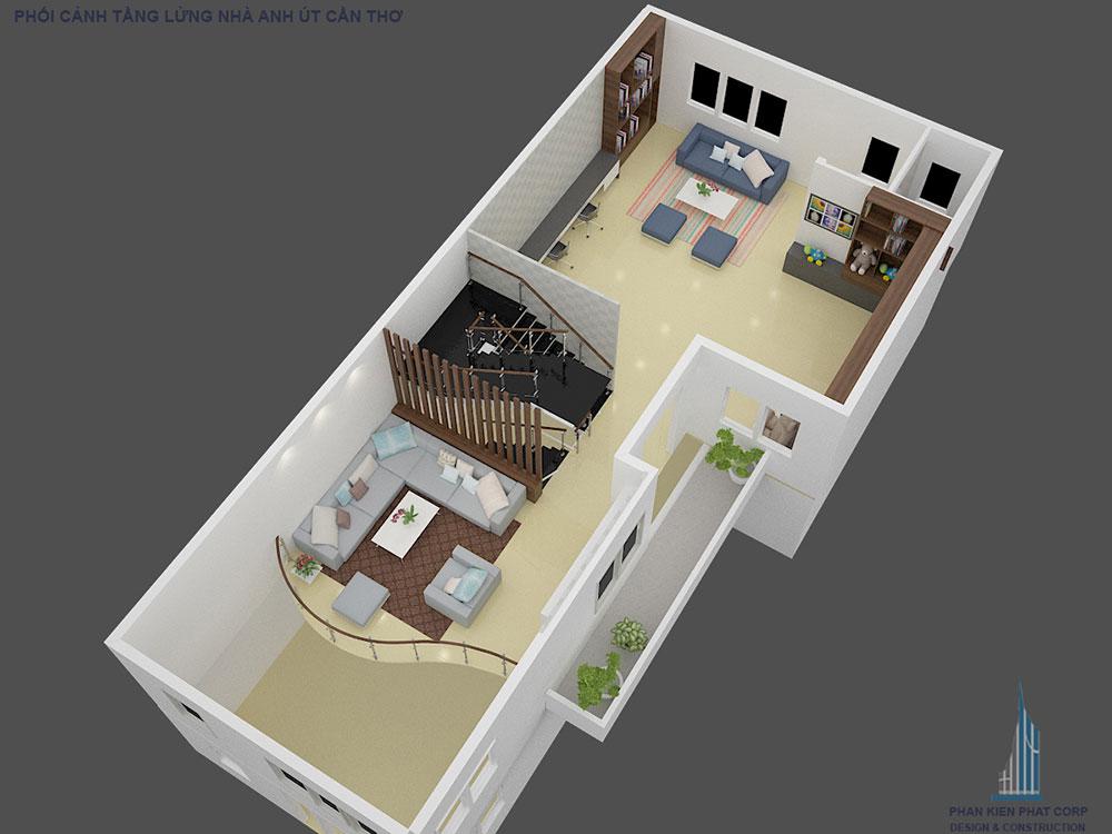 Phối cảnh mặt bằng tầng lửng biệt thự hiện đại góc nhìn 3