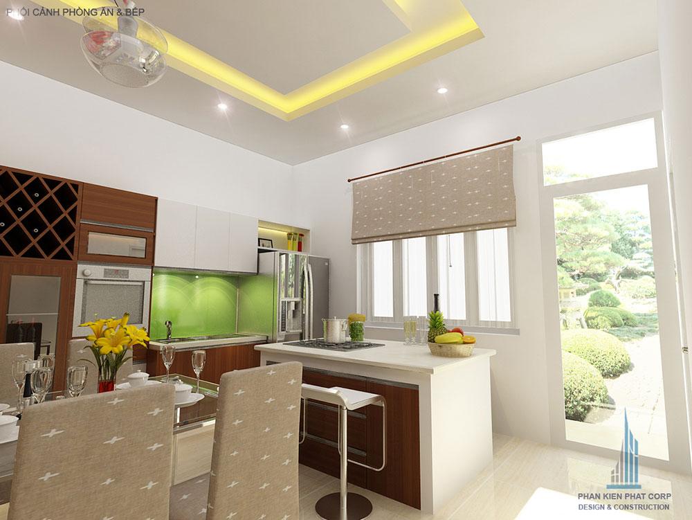 Phối cảnh phòng ăn và bếp góc nhìn 1