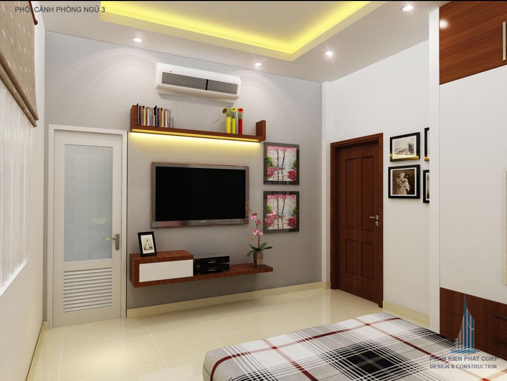 Phối cảnh phòng ngủ 1 biệt thự 2 tầng góc nhìn 1
