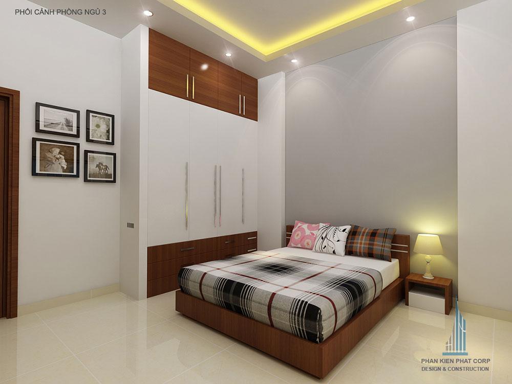 Phối cảnh phòng ngủ 1 biệt thự 2 tầng góc nhìn 2