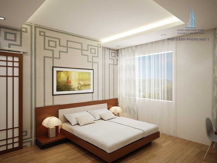 Biệt thự mái nghiêng - Phòng ngủ 1 góc 2