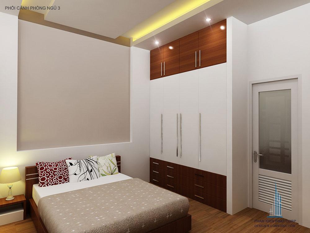 Phối cảnh phòng ngủ 2 biệt thự 2 tầng góc nhìn 1