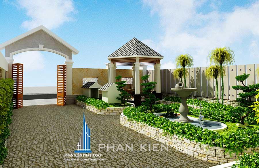 Thiết kế biệt thự 3 tầng - Sân vườn trước