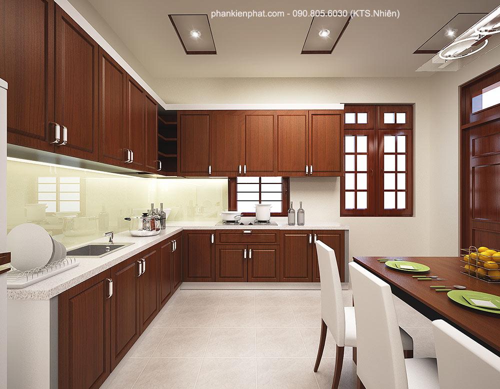 Phòng bếp view 2 bán cổ điển 2 tầng