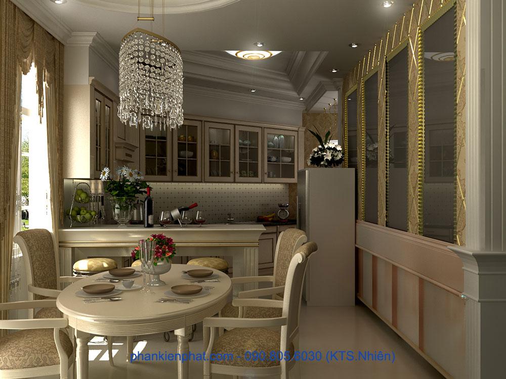 Phòng bếp view 3 của thiết kế biệt thự cổ điển kiểu Pháp