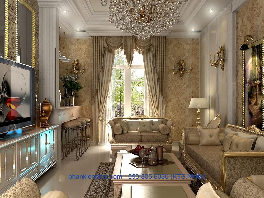 Phòng khách view 1 của biệt thự kiểu Pháp cổ điển