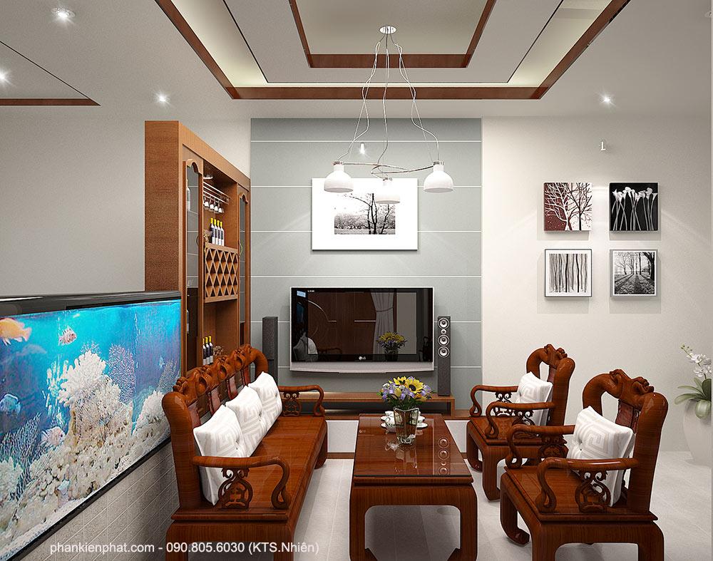 Phòng khách view 2 biệt thự 11x6m 2 tầng