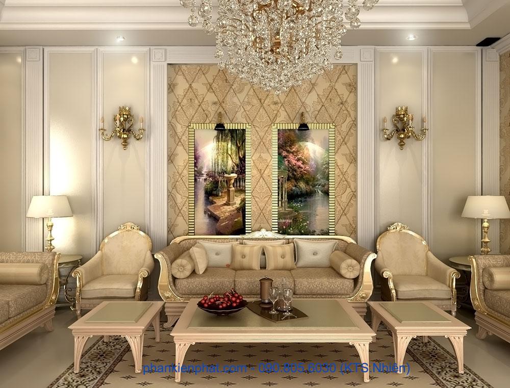 Phòng khách view 2 của biệt thự kiểu Pháp 16.4x7.6m