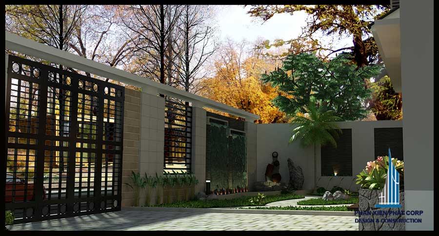 Thiết kế biệt thự - Sân vườn trước góc 1