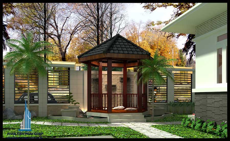 Thiết kế biệt thự - Sân vườn trước góc 2