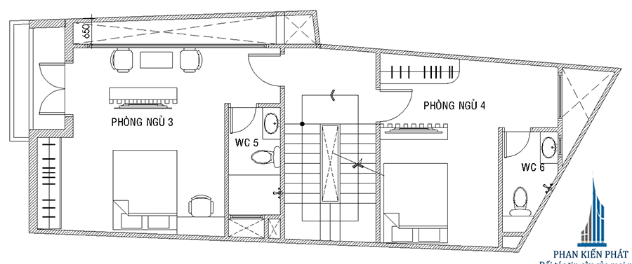 Mặt bằng lầu 2 của nhà phố hiện đại