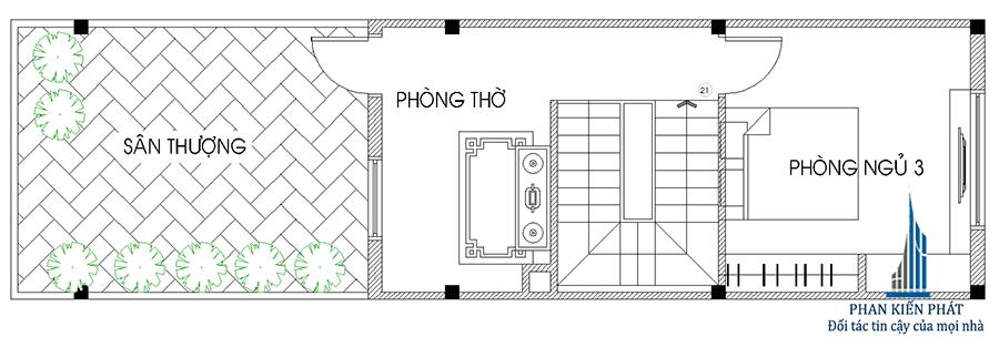 Mặt bằng lầu 2- nhà phố 3 tầng