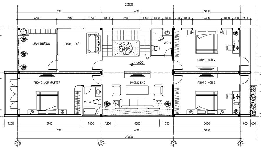 Mặt bằng tầng lầu biệt thự 2 tầng hiện đại tuyệt đẹp