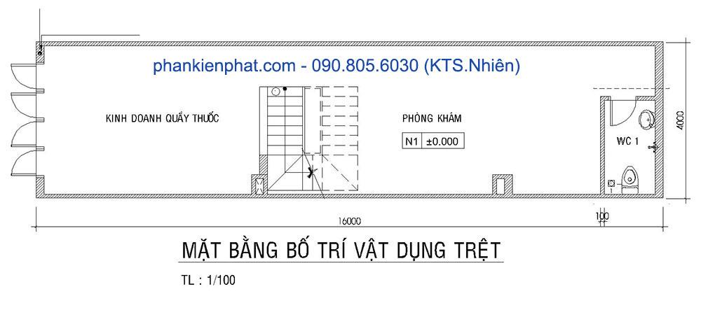 Mặt bằng tầng trệt nhà phố 4x16m 4 tầng bán cổ điển