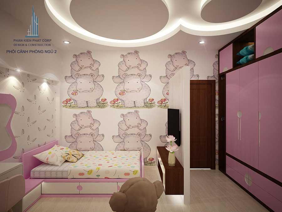 Phối cảnh phòng ngủ 2 góc 3 của nhà ống hiện đại