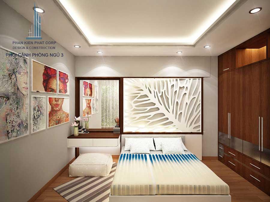 Phối cảnh phòng ngủ 3 góc 2 của nhà hiện đại mặt phố