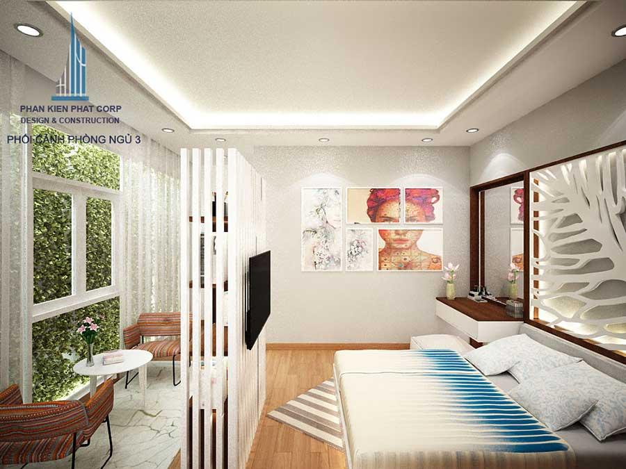 Phối cảnh phòng ngủ 3 góc 4 của nhà phố hiện đại