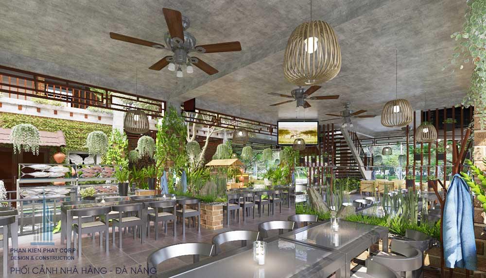 Phối cảnh thiết kế nội thất nhà hàng Thuần Việt góc 2