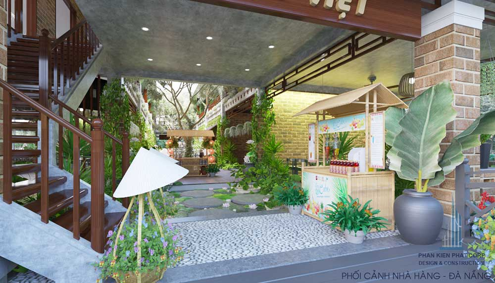 Phối cảnh thiết kế nội thất nhà hàng Thuần Việt góc 4