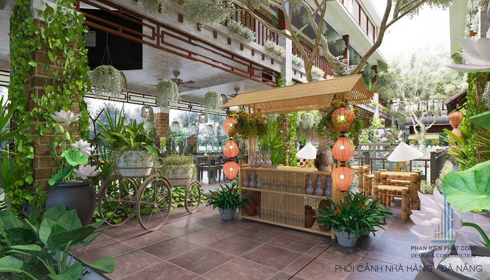 Phối cảnh thiết kế nội thất nhà hàng Thuần Việt góc 6