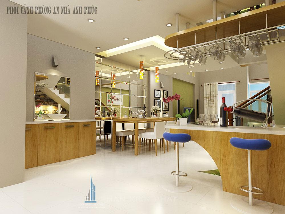 Phòng bếp + ăn view 2 của nhà đẹp 5x16m 3 tầng