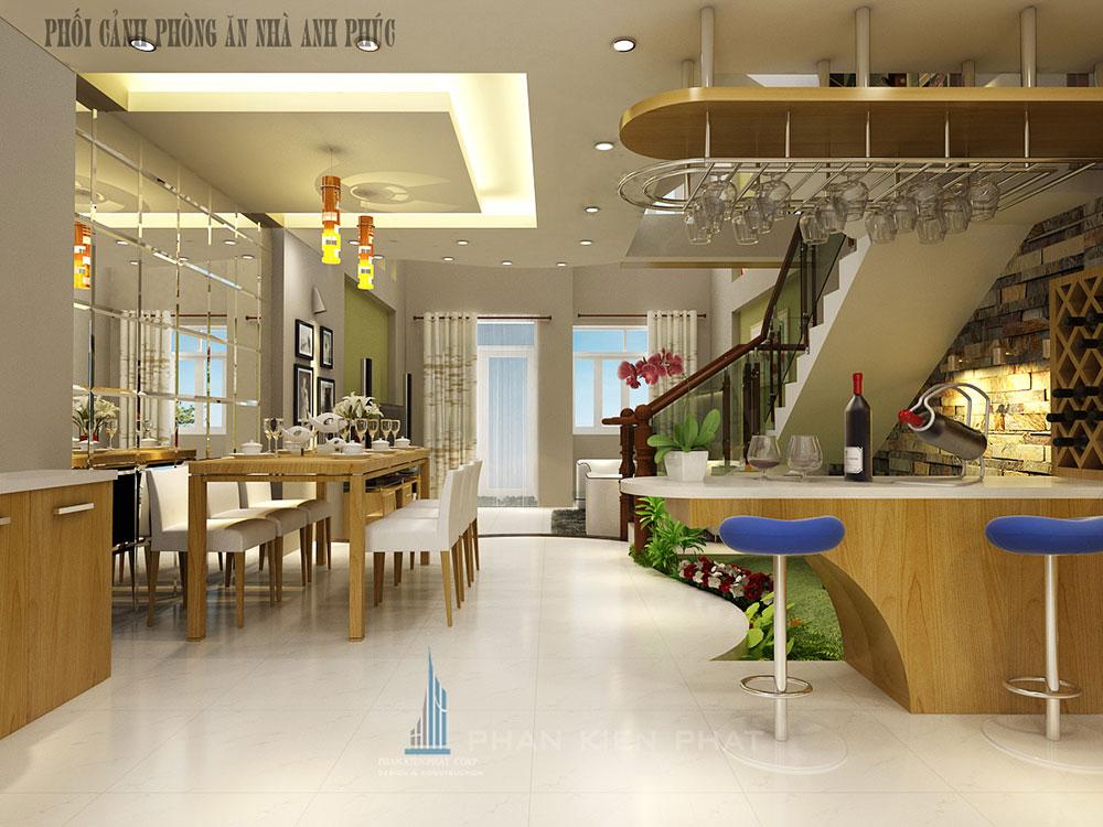Phòng bếp + ăn view 3 của nhà đẹp 5x16m