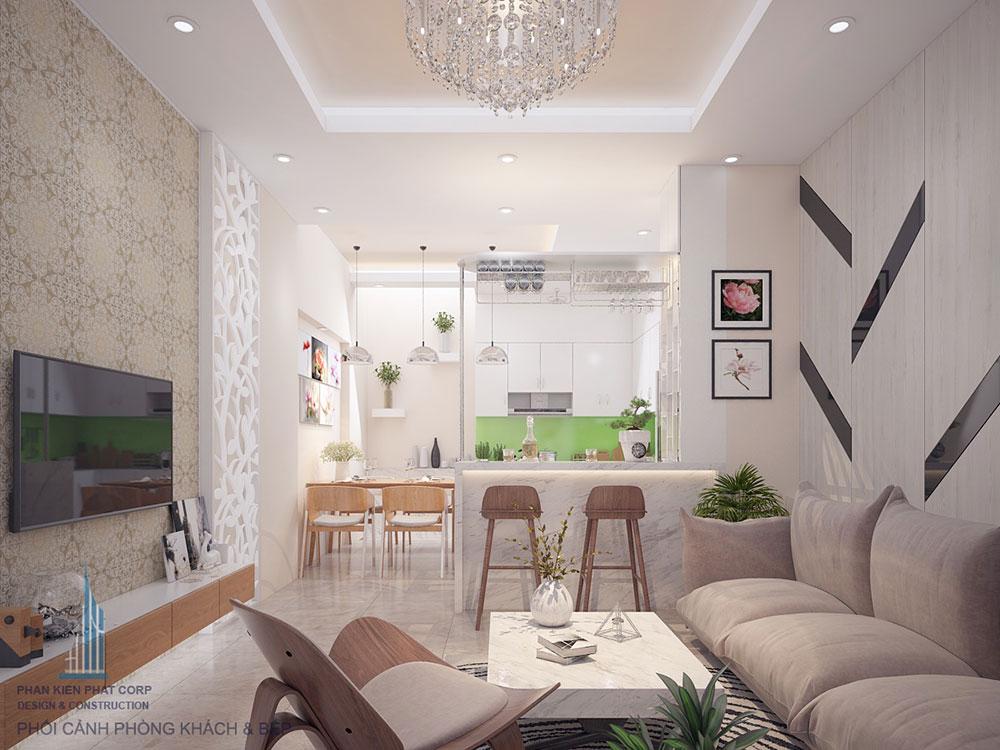 Phòng khách nhà phố 4x16m 4 tầng